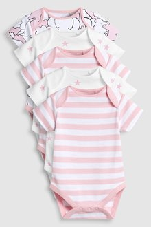 Next Elephant Character Short Sleeve Bodysuits Five Pack (0mths-2yrs)