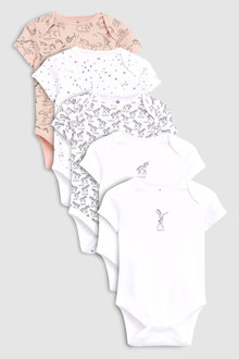 Next Delicate Unicorn Print Short Sleeve Bodysuits Five Pack (0mths-2yrs)