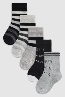 Next Slogan Socks Five Pack (Younger)