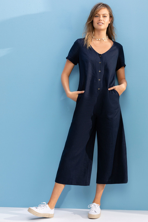 Emerge Linen Blend Button Jumpsuit