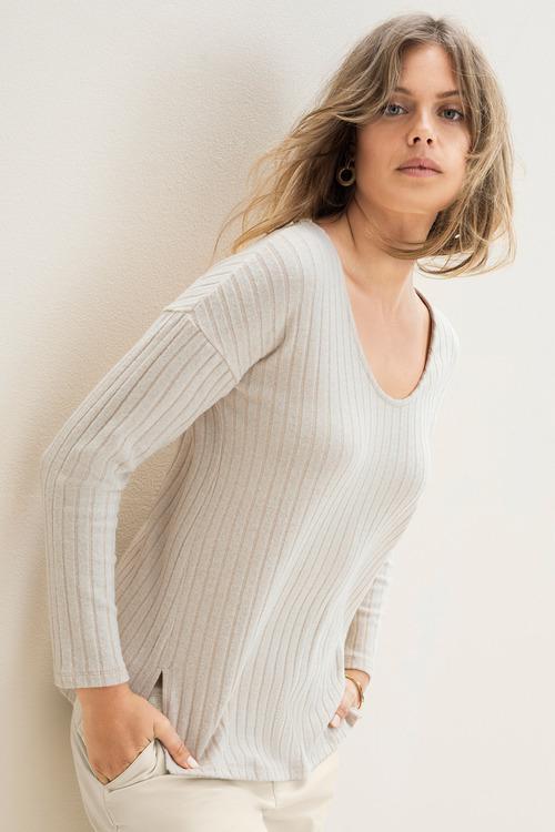 Emerge Striped Rib V Neck Sweater
