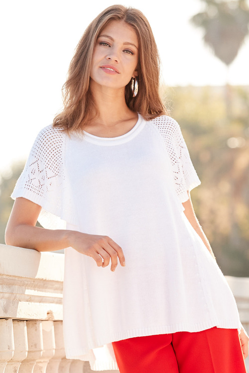 European Collection Pointelle Short Sleeve Pullover