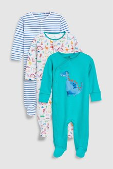 Next Dinosaur Character And Stripe Sleepsuits Three Pack (0mths-2yrs)
