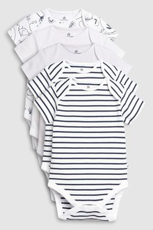 Next Delicate Elephant Short Sleeve Bodysuits Five Pack (0mths-2yrs)