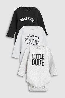 Next Slogan Long Sleeve Bodysuits Three Pack (0mths-2yrs)
