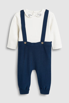 Next Knitted Dungarees And Bodysuit Set (0mths-2yrs)
