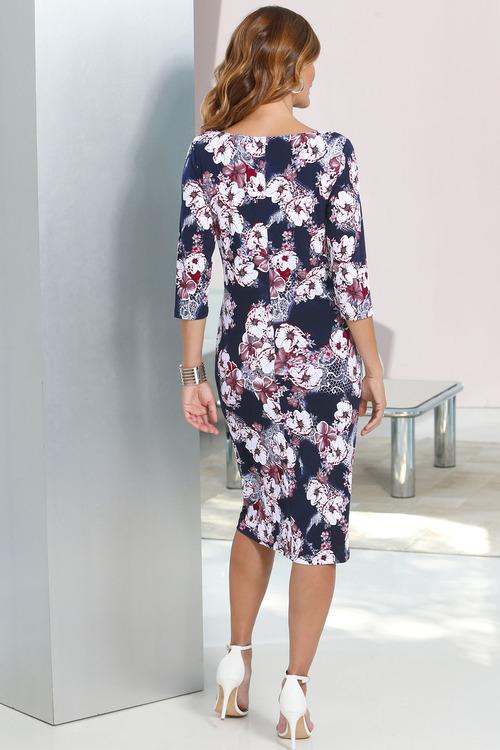 Capture European Floral Printed Jersey Dress