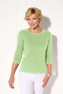 Euro Edit Contrast Edge Detail Pullover - 228970