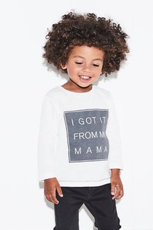 Next White Mama Long Sleeve T-Shirt - 229016