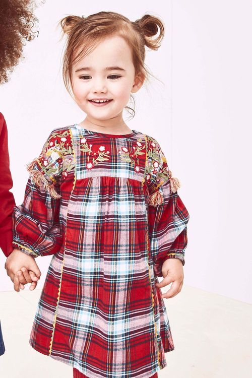 Next Red Check Embroidered Dress