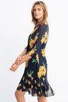 Capture Ruffle Hem 3/4 Sleeve Dress