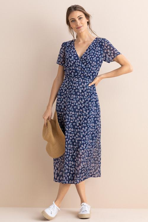 Capture Wrap Short Sleeve Midi Dress