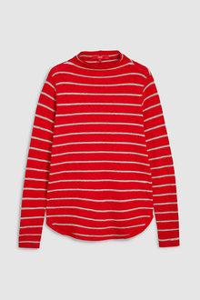 Next Red Striped Curve Hem Top - 229219