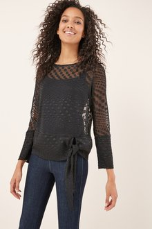 Next Black Tie Side Long Sleeve Top - 229268
