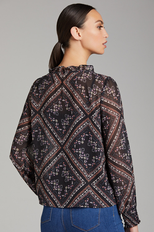 Emerge Shirred Long Sleeve Top