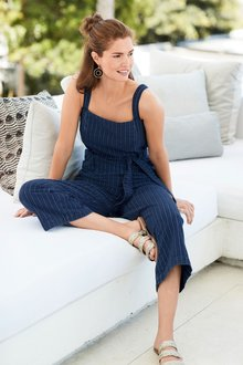 Next Striped Belted Jumpsuit-Tall