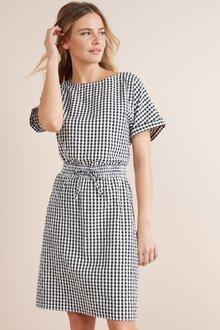 Next Gingham Tie Waist Dress-Tall
