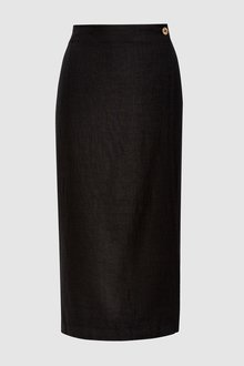 Next Linen Blend Midi Skirt-Tall