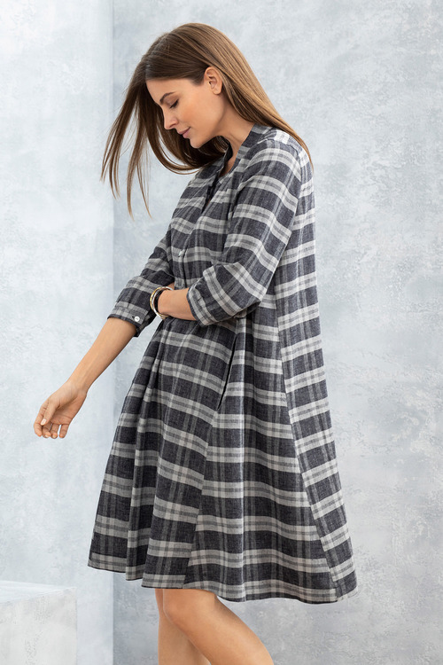 Grace Hill Linen Blend Swing Dress