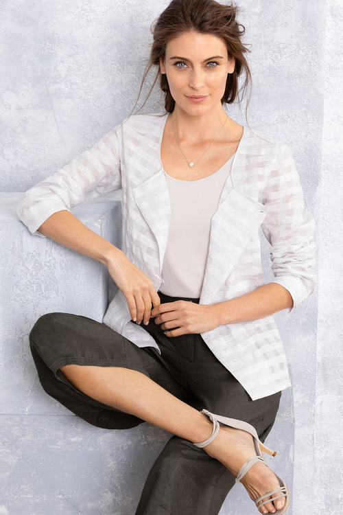 Grace Hill Textured Linen Blend Jacket