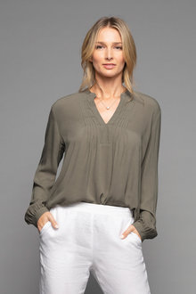 Grace Hill Pintuck Long Sleeve Blouse - 229485