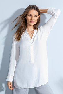 Grace Hill Longline 1/2 Placket Shirt