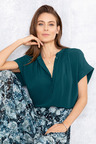 Grace Hill Button Front Short Sleeve Top