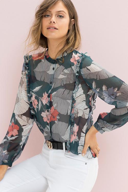 Emerge Button Up Ruffle Detail Shirt