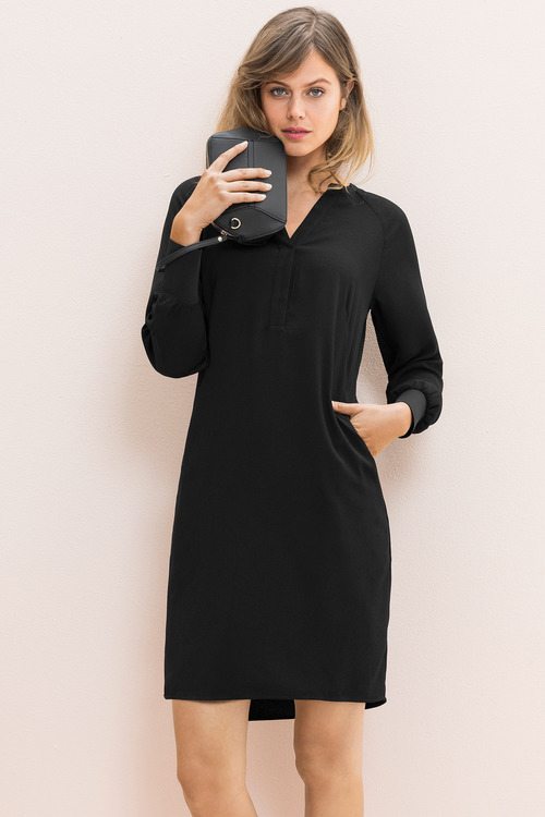 Emerge Ribbed Cuff Half Placket Dress