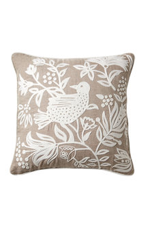 Bird Embroidered Cushion