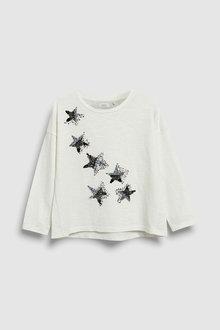 Next Ecru Sequin Star Long Sleeve T-Shirt (5-16yrs) - 229520