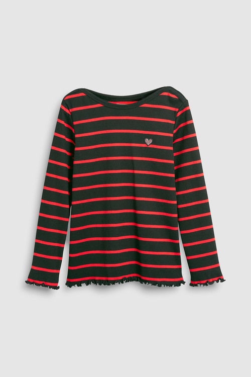 Next RED/BLACK STRIPE LONG SLEEVE RIB TOP