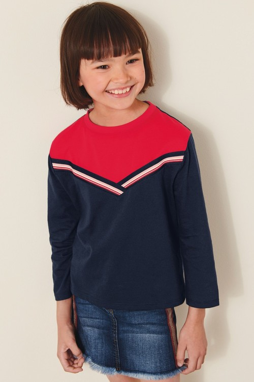 Next Navy Colourblock Long Sleeve T-Shirt (5-16yrs)