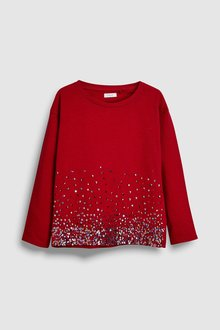Next Red Long Sleeve Sequin Top (5-16yrs) - 229540
