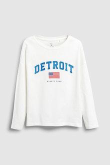 Next White Detroit Long Sleeve T-Shirt (5-16yrs) - 229544