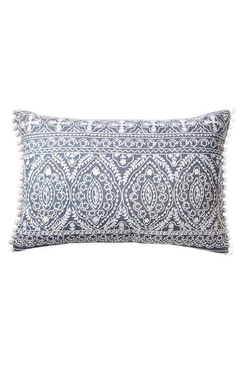 Pom Pom Embroidered Cushion