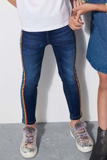 Next Mid Blue Rainbow Side Tape Jeggings - 229549