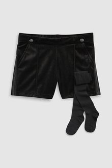 Next BLACK VELOUR SHORTS WITH SPARKLE TIGHTS - 229561