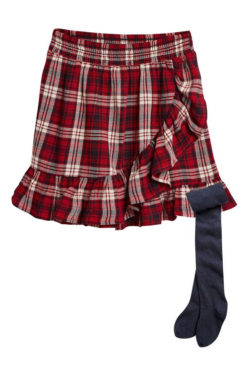 Next RED CHECK FRILL SKIRT WITH TIGHTS