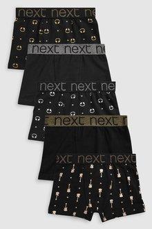 Next BLACK FOIL PRINT TRUNKS FIVE PACK - 229610