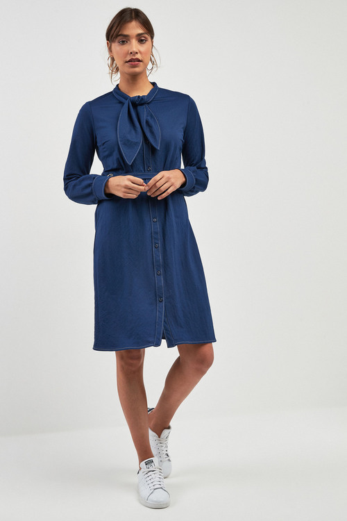 Next Denim Look Tie Neck Shirt Dress