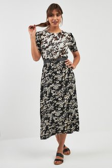 Next Floral Mix Print Midi Dress