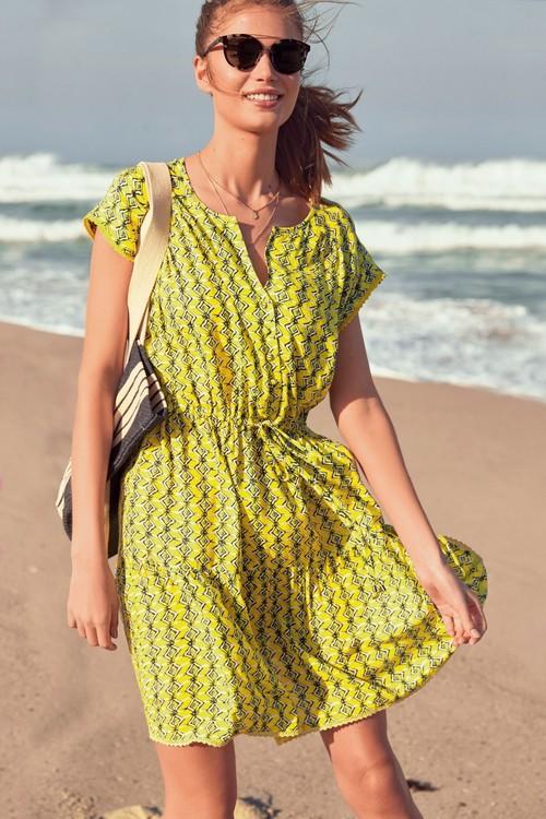 Next Lace Trim Drawstring Dress