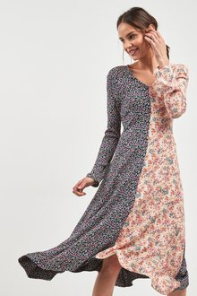 Next Ditsy Floral Splice Midi Dress