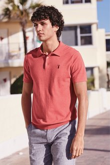 Next Short Sleeve Knitted Pastel Polo