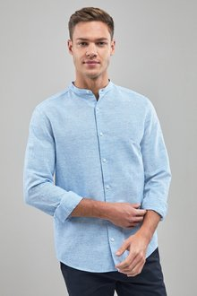 Next Linen/Cotton Grandad Collar Long Sleeve Shirt