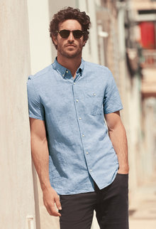Next Linen/Cotton Short Sleeve Shirt - 229811