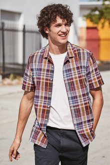 Next Madras Check Revere Collar Short Sleeve Shirt