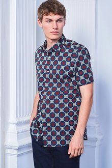 Next Smart Short Sleeve Large Geo Print Shirt