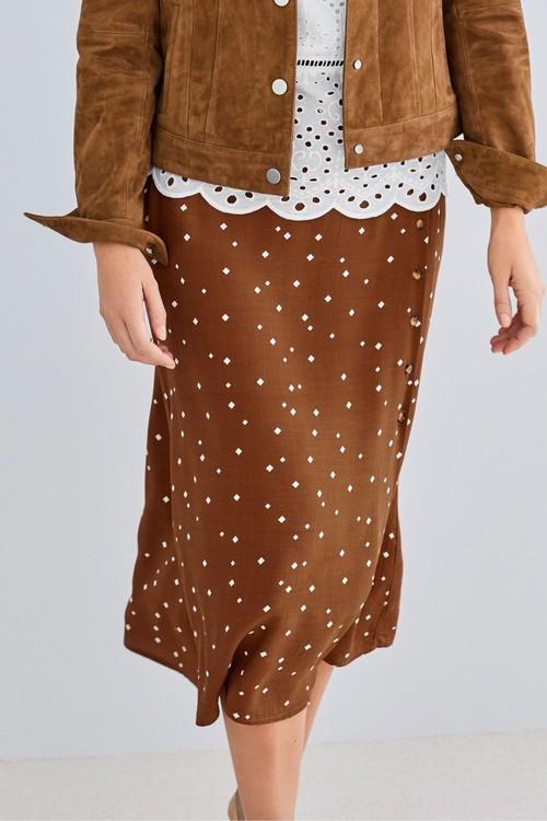 Next Print Button Skirt-Tall